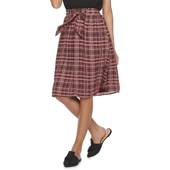 Elle Dresses & Skirts - ELLE Plaid Skirt With Tie Size XL